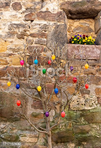 istock An easter decoration on branches in nature 1217152630