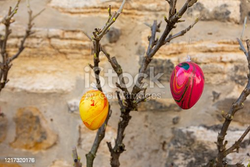 istock An easter decoration on branches in nature 1217320176