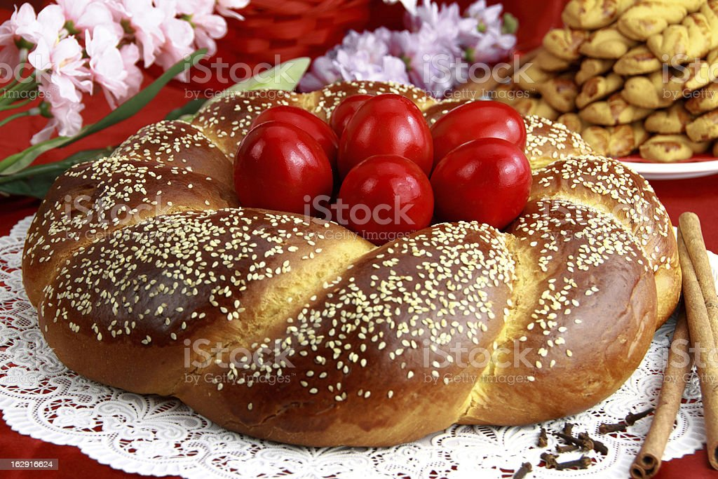 An Easter sweet bread on a laid table stock photo