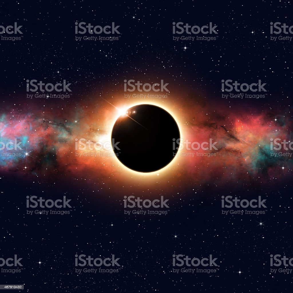 An eclipse of the sun with a view from our earth stock photo