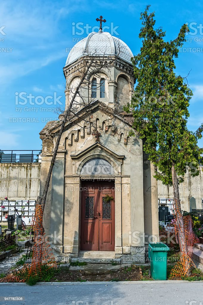 An editorial stock photo of a Cemetery/Graveyard in Zemun Serbia. stock photo