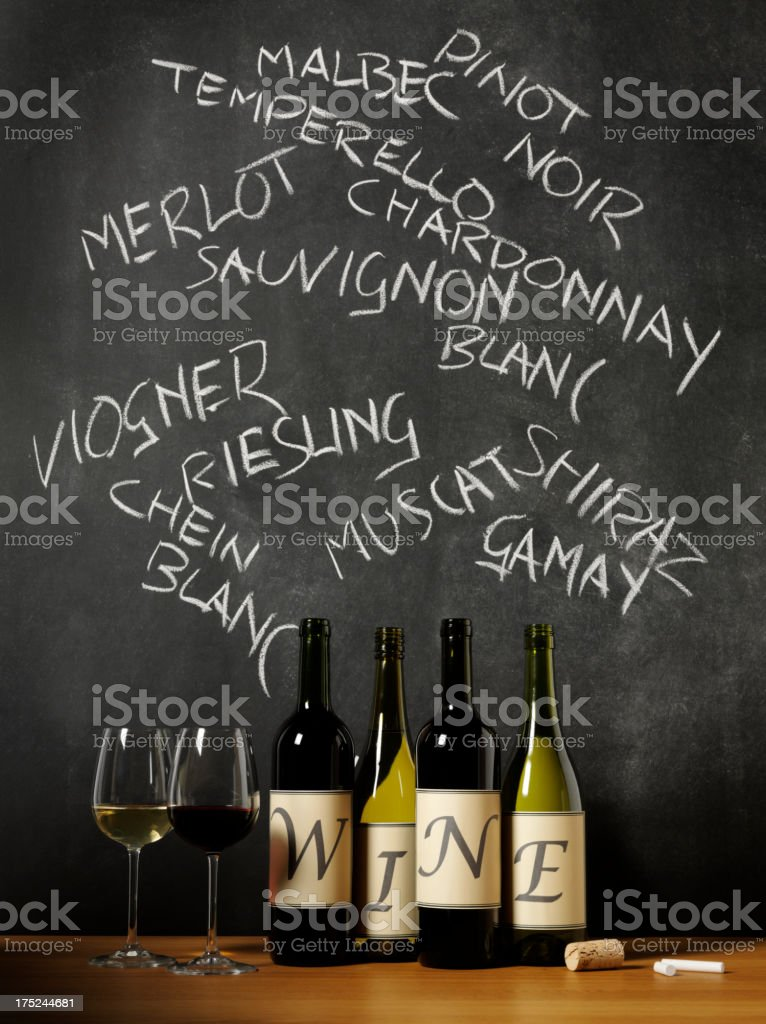 An Education for Wine on a Blackboard stock photo