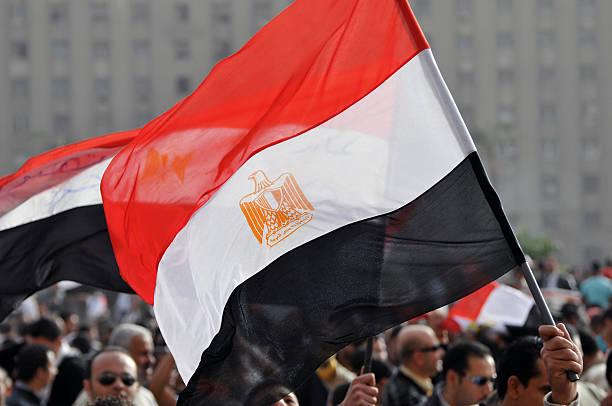 Egyptian Flag at rally stock photo