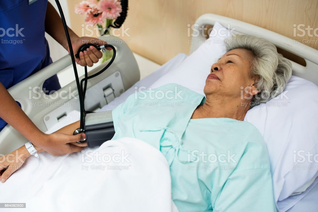 An elderly patient at the hospital royalty-free stock photo