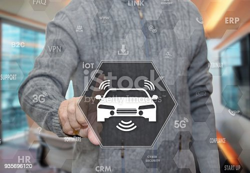istock An elderly pensioner chooses car wireless Internet access, wi-Fi in the car on the touch screen on blur office background. 935696120