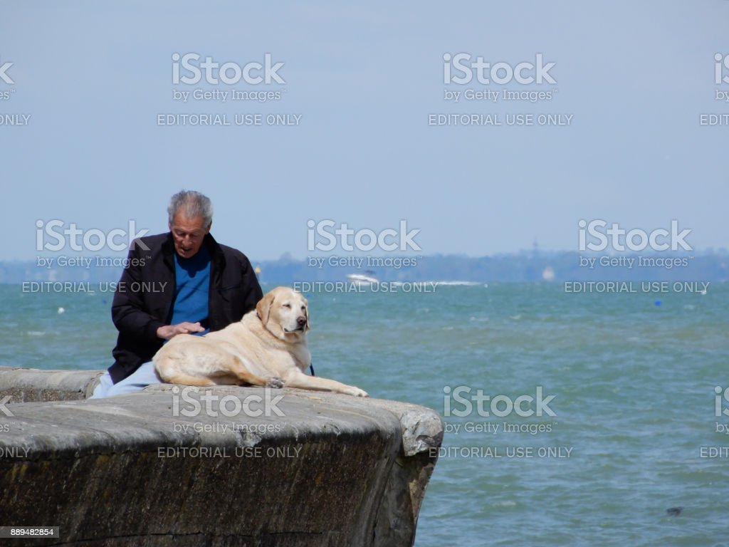 An elderly person sits with his dog on the sea wall in Ryde stock photo