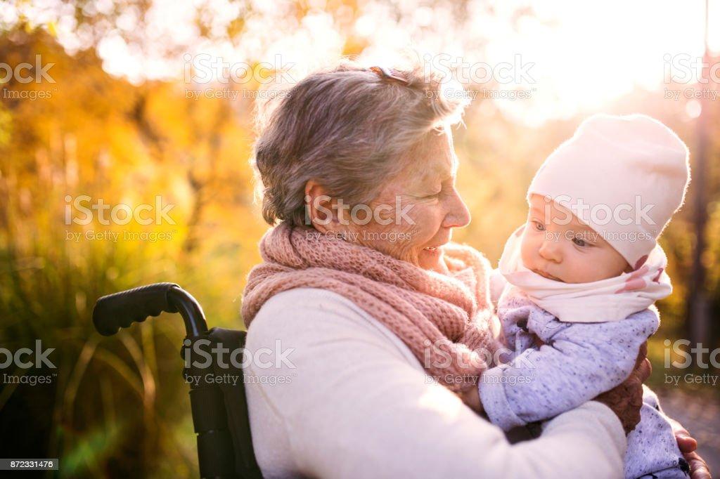 Una anciana en silla de ruedas con el bebé en la naturaleza otoño. - foto de stock