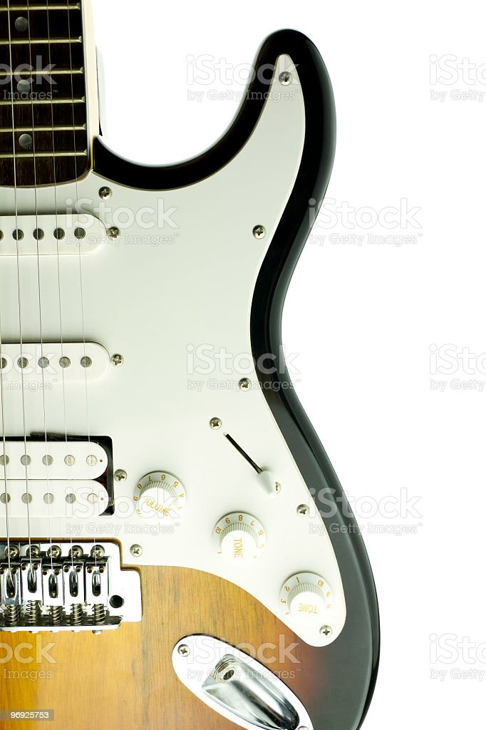 An electric guitar on a white background royalty-free stock photo