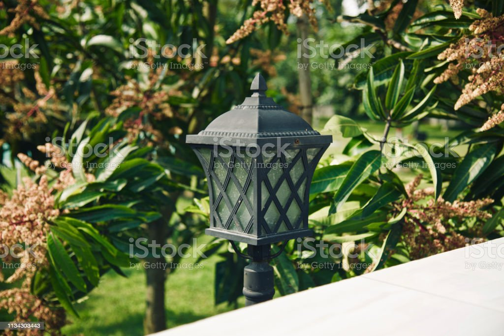 An electric lamp post around a park stock photo