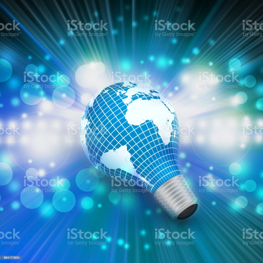 an electric light bulb with a world map royalty-free stock photo
