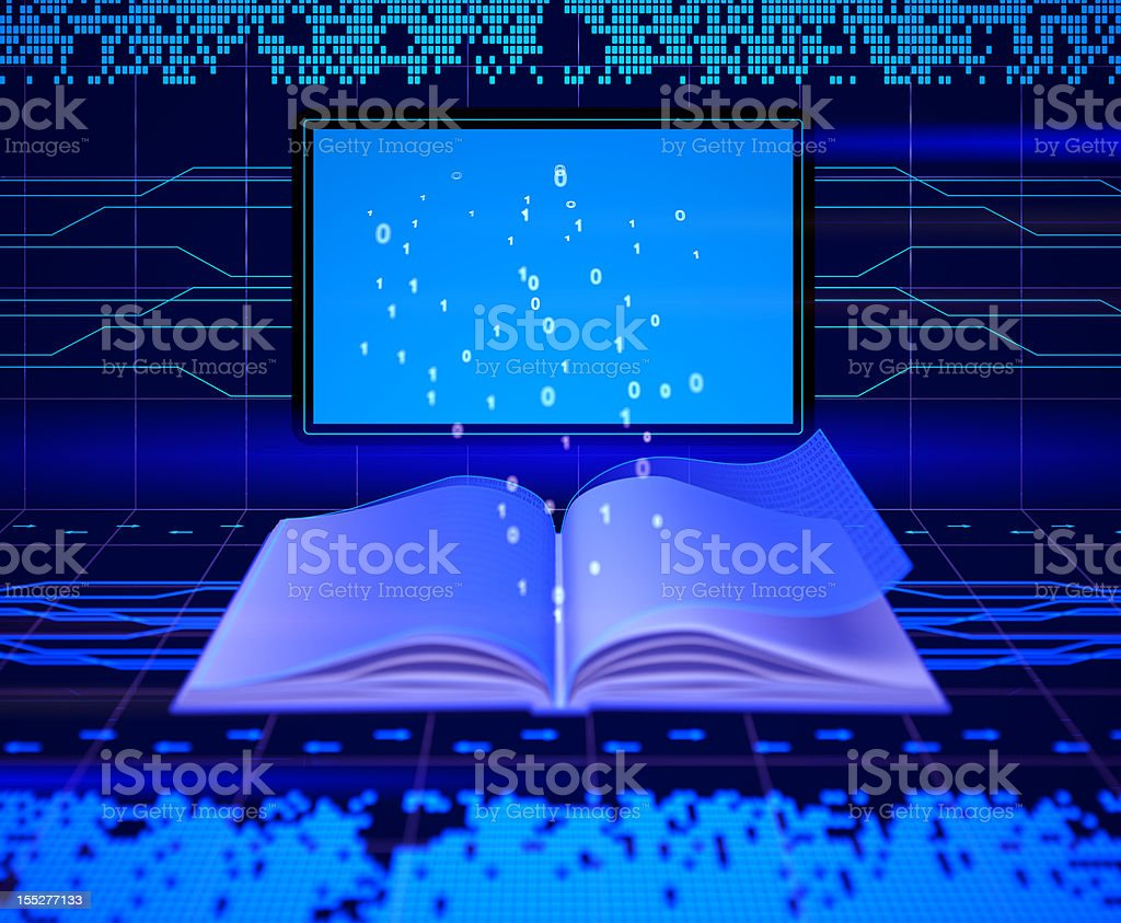 An electronic book with lights beaming out of it stock photo