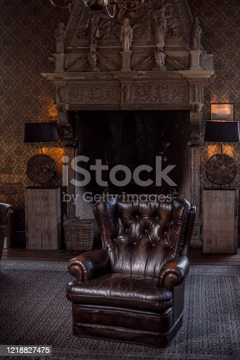 An elegant chair in a stately home living room
