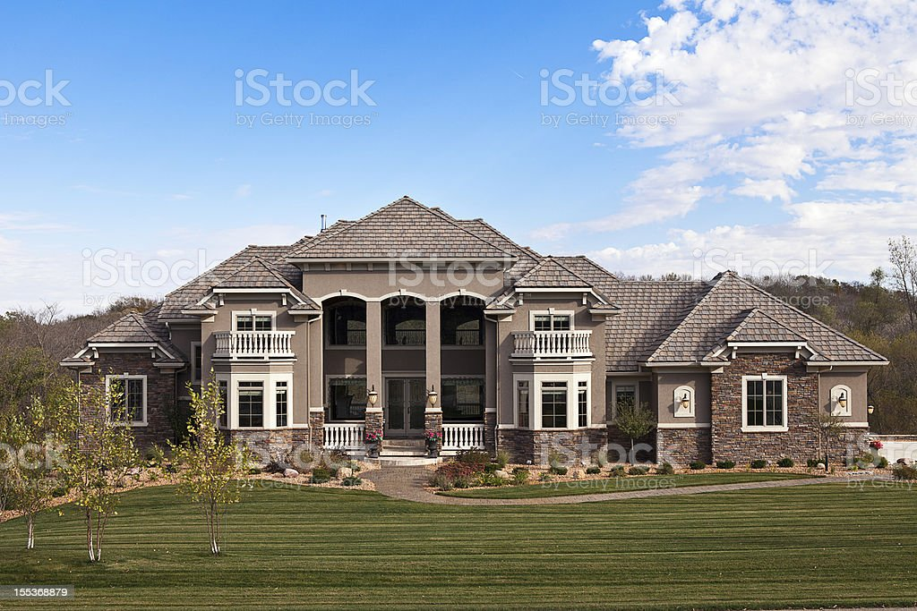 An elegant country estate and gardens stock photo