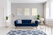 An elegant navy blue sofa in the middle of a bright living room interior with gold metal side tables and three paintings on a gray wall. Real photo.