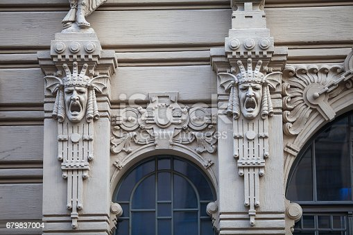 istock An element of facade of an Art Nouveau building with bas-relief and statues. Riga, Latvia. 679837004