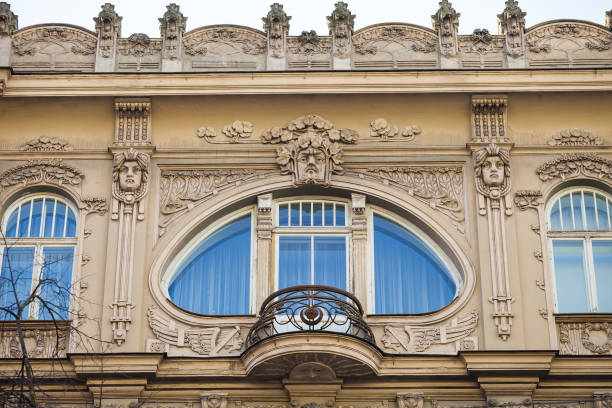 An element of facade of an Art Nouveau building with bas-relief and statues. Riga, Latvia. stock photo
