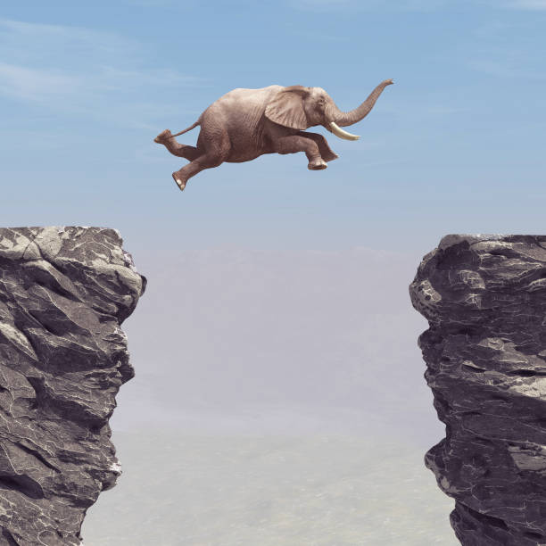 An elephant jumping over a chasm. This is a 3d render illustration stock photo