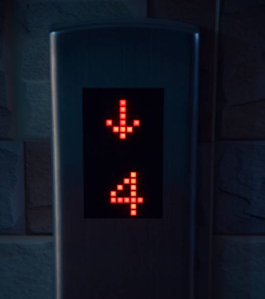 An elevator's control unit with black display stock photo