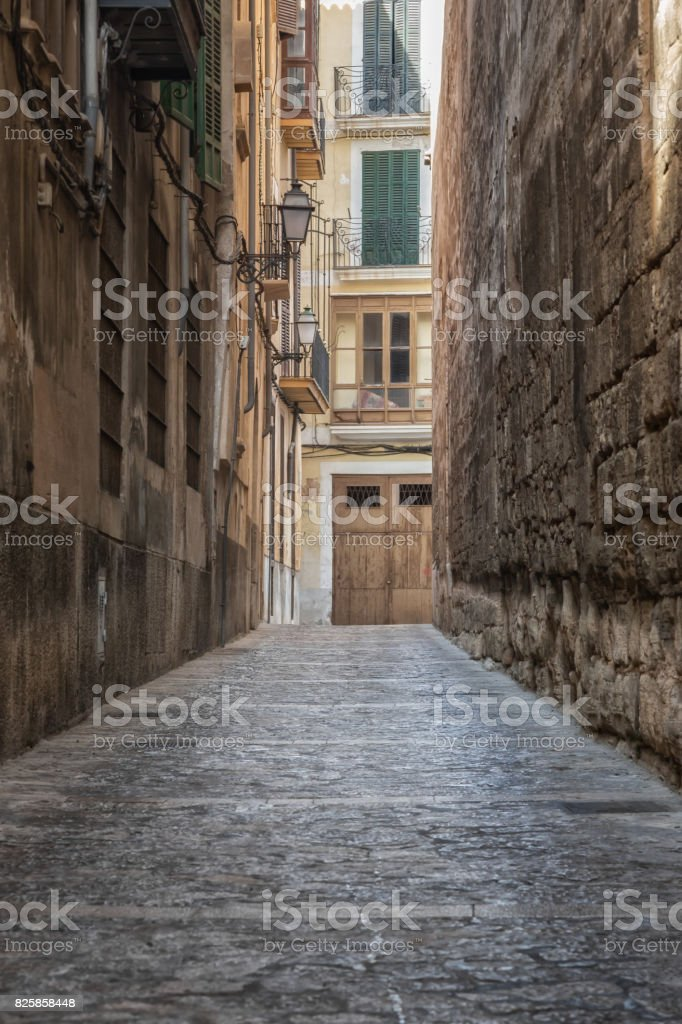 An empty alley in the middle of Mallorca stock photo