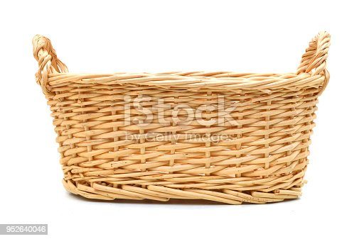 An empty basket on a white background