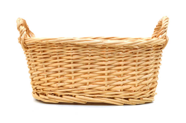 An empty basket on a white background An empty basket on a white background wicker stock pictures, royalty-free photos & images