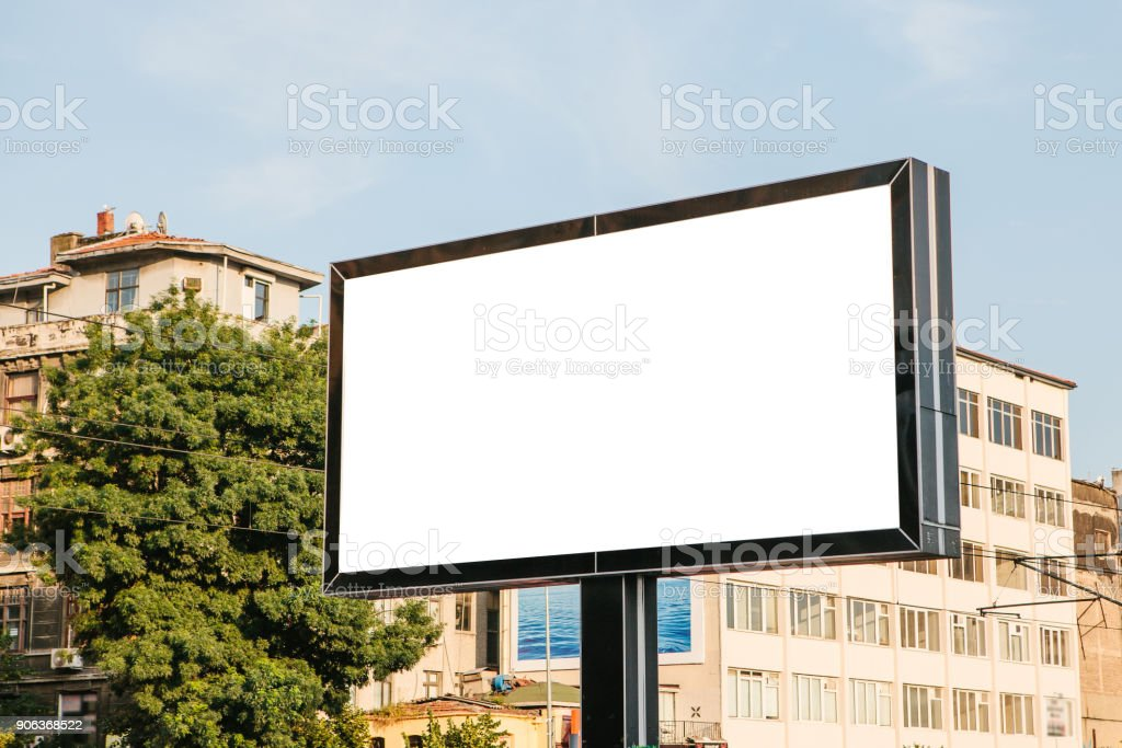 An empty billboard for outdoor advertising in Istanbul in the Fatih...