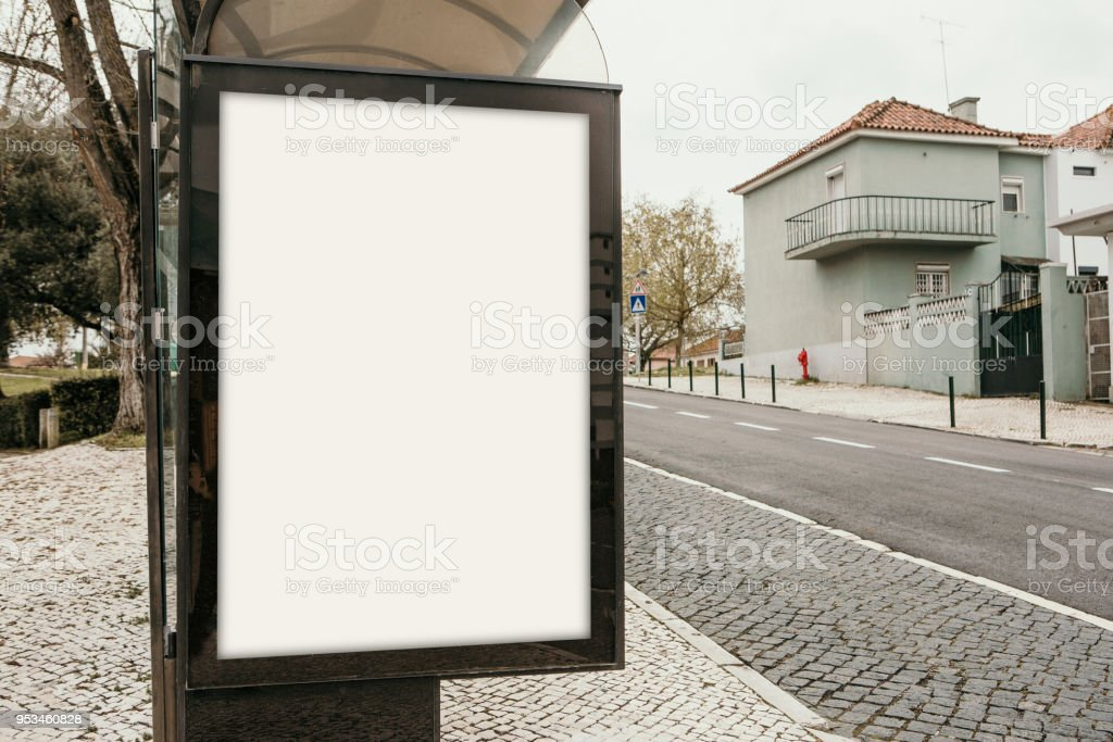 An empty billboard for outdoor advertising in Lisbon in Portugal....