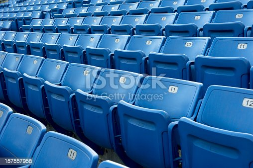 Row after row of Blue stadium seats