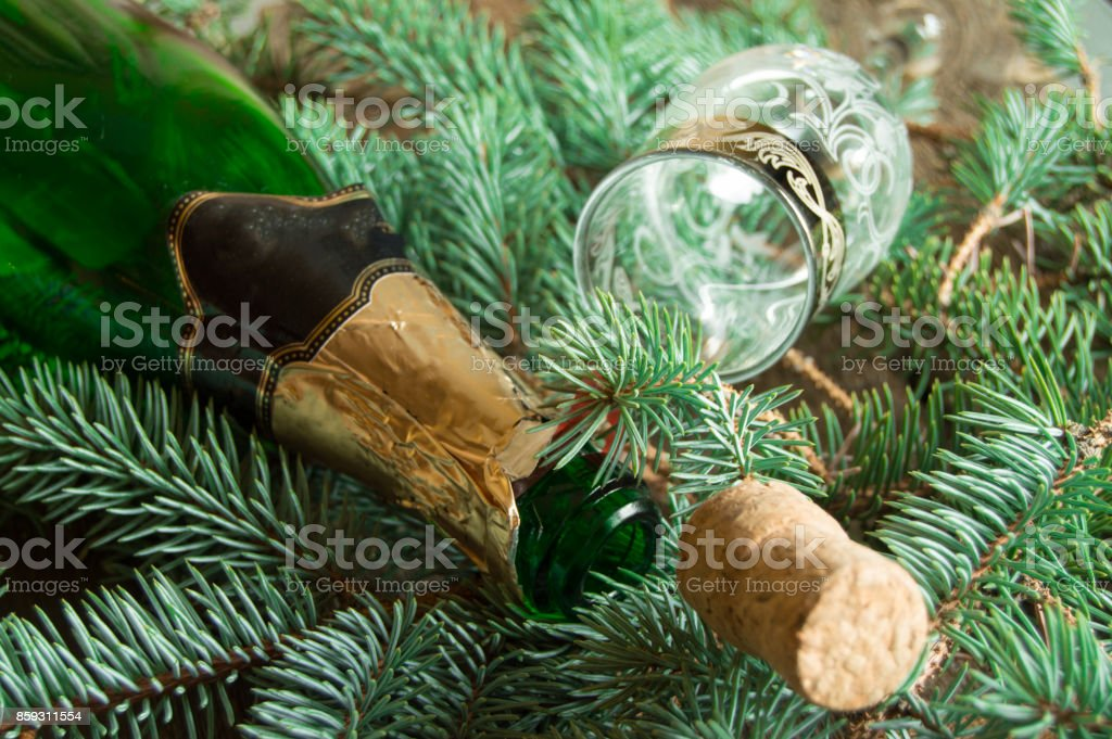 An empty bottle of champagne, a cork and a wine glass lying on spruce branches, focus on the neck of the bottle, Christmas background stock photo