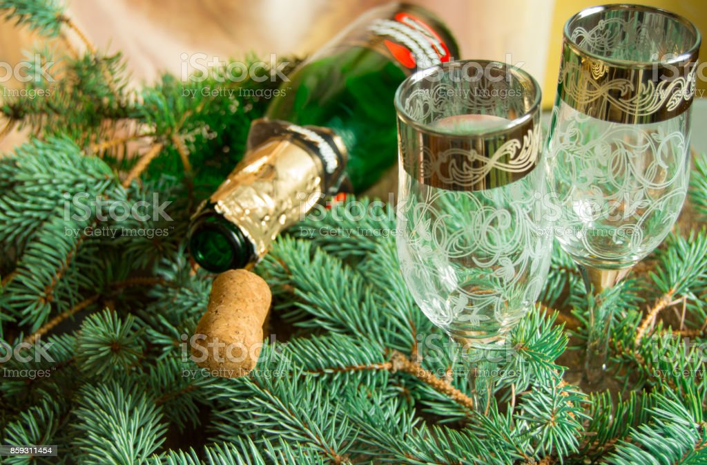 An empty bottle of champagne and a cork lying on spruce branches, near two wine glasses, focus on the tube, Christmas background stock photo