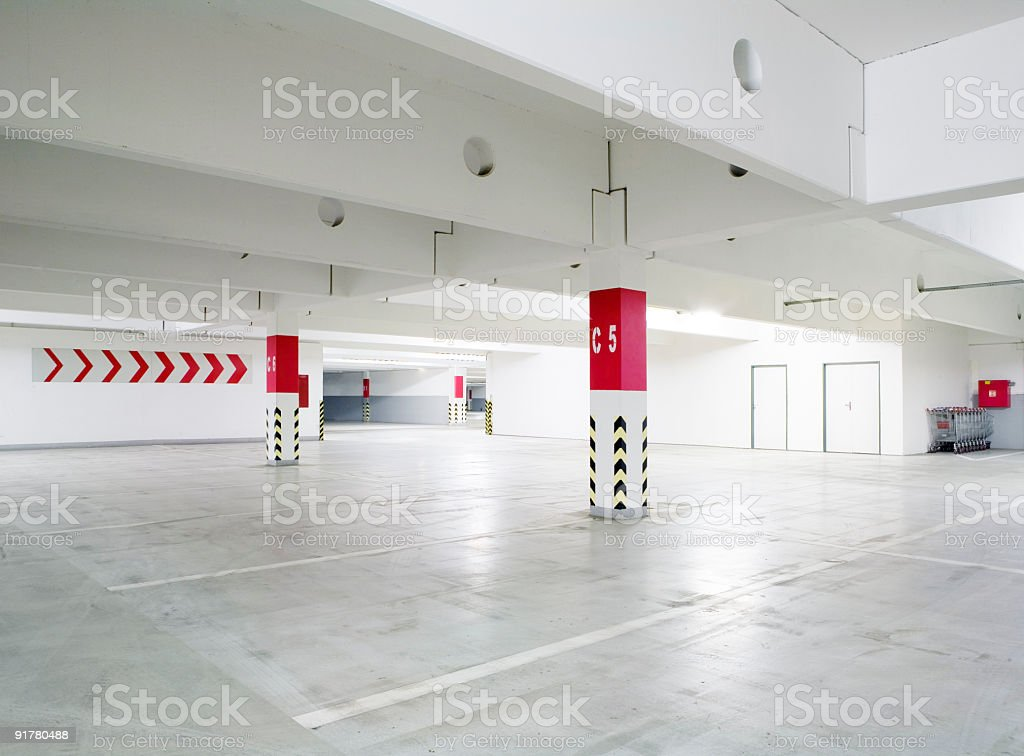 An empty car garage parking lot royalty-free stock photo
