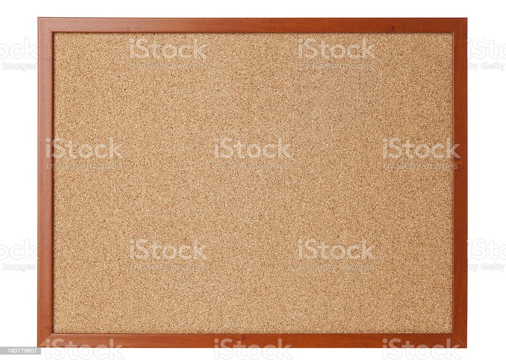 An empty cork board on a white background royalty-free stock photo