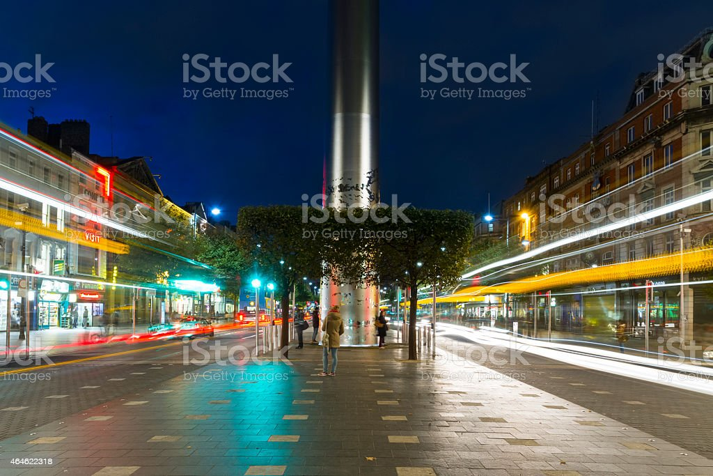 An empty Dublin street at night stock photo