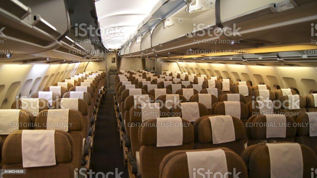 une cabine vide en classe conomique un intrieur dcouvre sur un airbus a330 de swiss