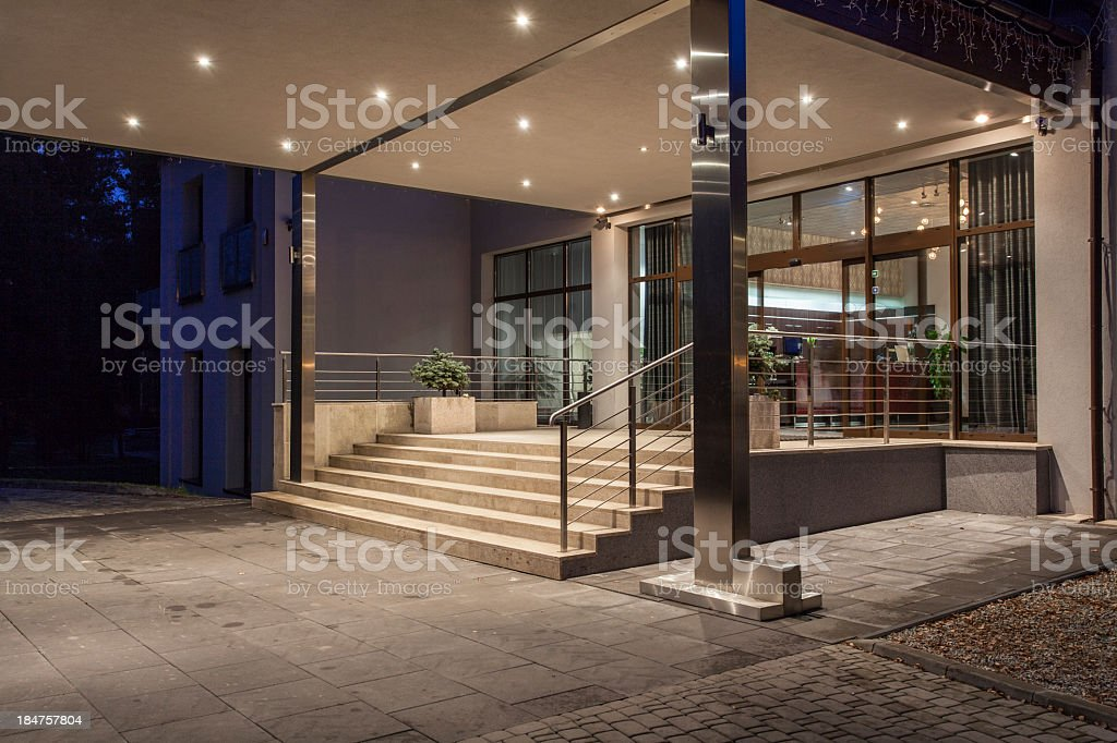 An empty entrance of the Woodland hotel stock photo