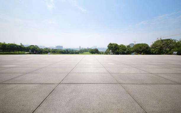 An empty floor in a city park stock photo
