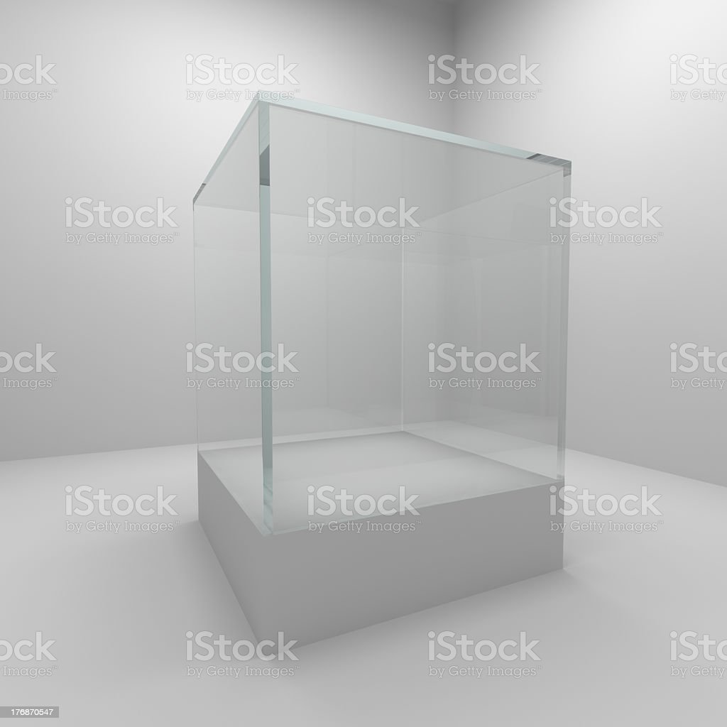 An empty glass showcase in a museum stock photo
