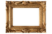 Gold antique frame on a white  background(with path)