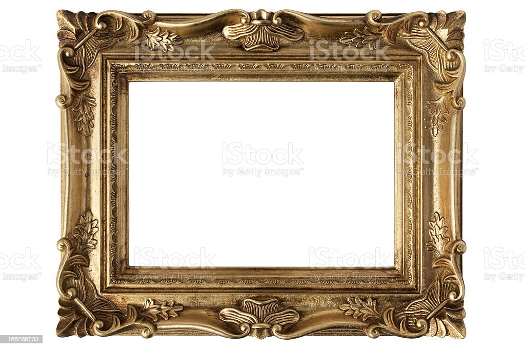 An empty gold antique picture frame over a white background stock photo
