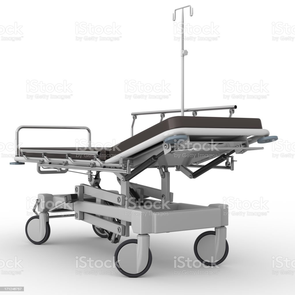 An empty hospital stretcher isolated on a white background stock photo