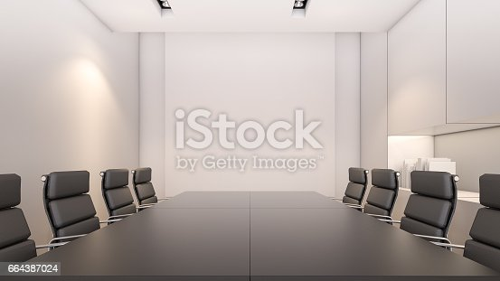 847512708 istock photo An empty meeting room and conference table / 3D rendering 664387024