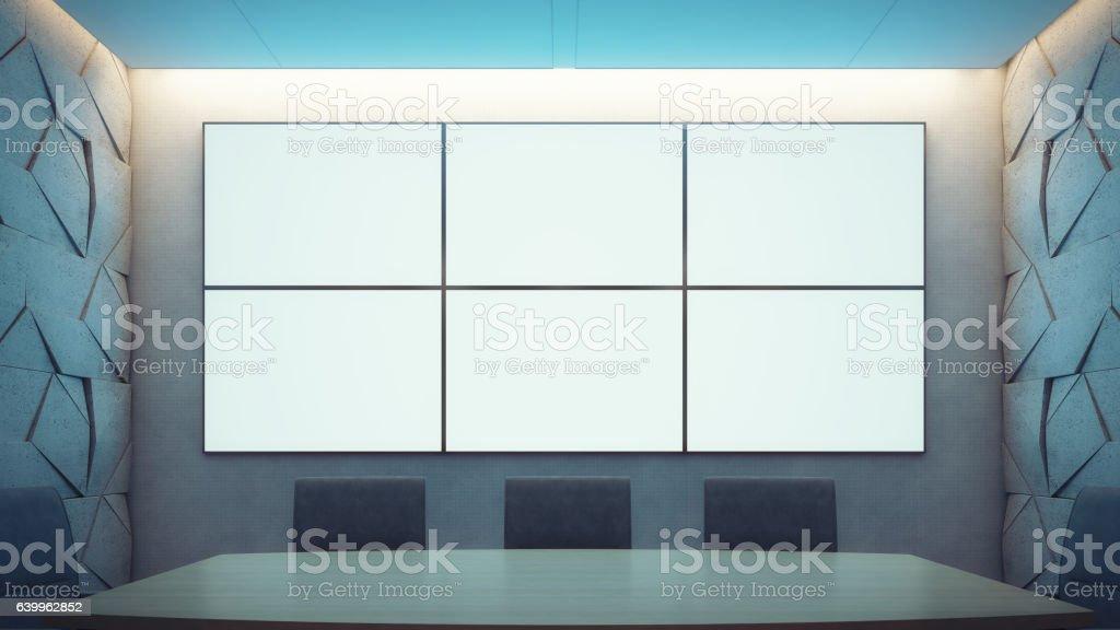 Vacío sala de reuniones y una mesa de conferencia - foto de stock