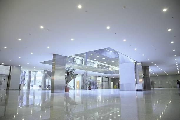 An empty, modern business center stock photo
