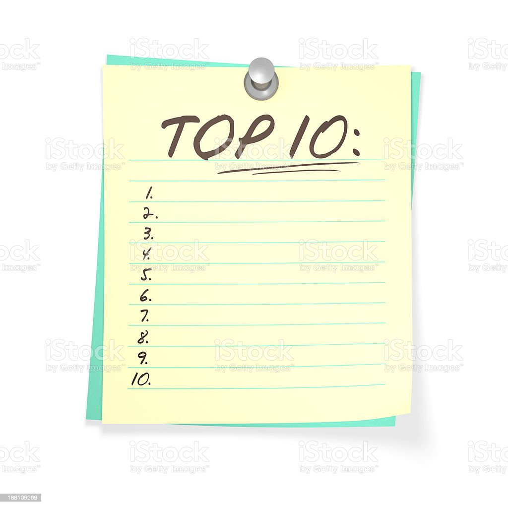 An empty numbered top ten list on yellow lined paper stock photo