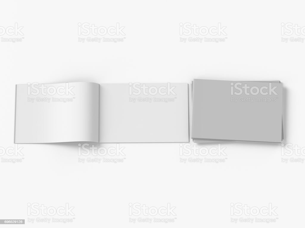An empty open and closed brochure on a white background stock photo