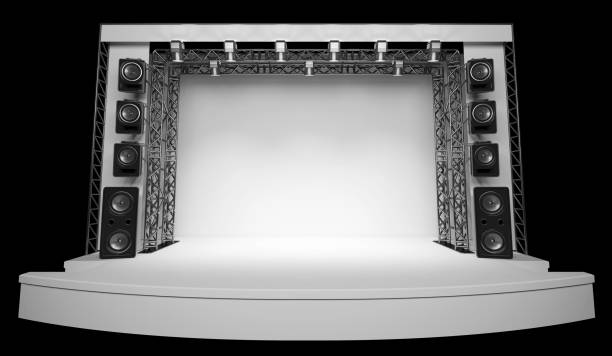 An empty scene with a white backdrop, acoustics and light. stock photo