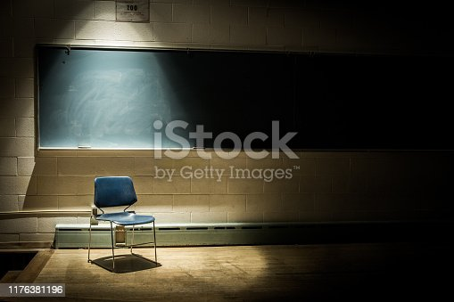 An Empty Chair in a Dark Classroom
