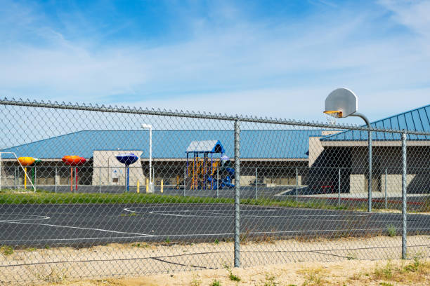 An empty school playground in Victorville, California, during the temporarily closure due to the Coronavirus Crisis. stock photo