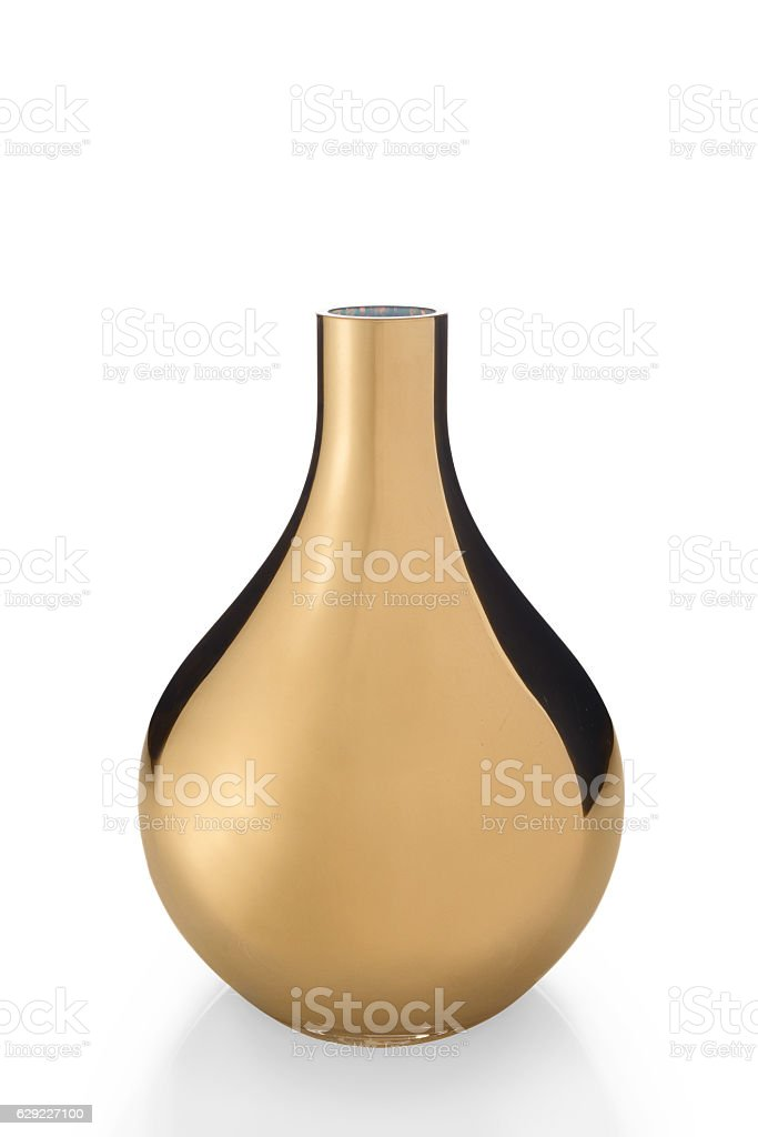 An Empty Shiny Gold Bulb Vase Stock Photo More Pictures Of Cut Out