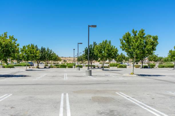 An empty shopping center parking lot stock photo